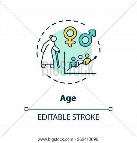 Age Concept Icon. Cardiovascular System Diseases, Cvd Factors, Senility Idea Thin Line Illustration.