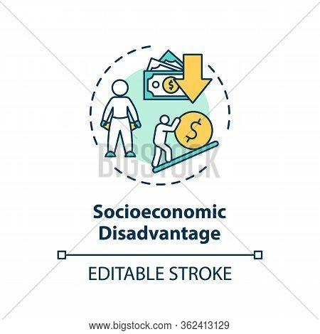 Socioeconomic Disadvantage Concept Icon. Social Classes Inequality, Low Income Problem Idea Thin Lin