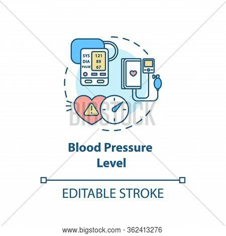Blood Pressure Level Concept Icon. Cardiovascular Diseases Diagnostics. Heart Illness, Hypertension