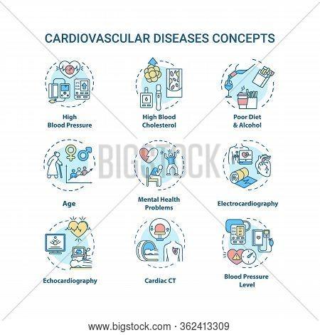 Cardiovascular Diseases Concept Icons Set. Heart Illness, Cardiac Problems Idea Thin Line Rgb Color