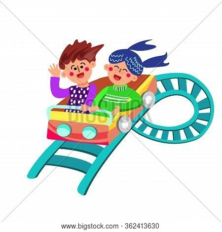 Characters Have Fun Riding Rollercoaster Vector Illustration