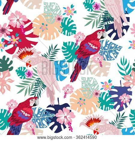 Seamless Pattern With Tropical Parrots. Colorful Exotic Birds, Leaves, Flowers, Plants And Branches