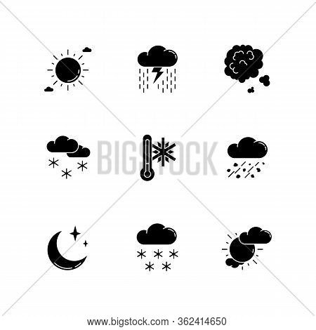 Sky Clarity And Precipitation Black Glyph Icons Set On White Space. Seasonal Weather Forecast, Meteo