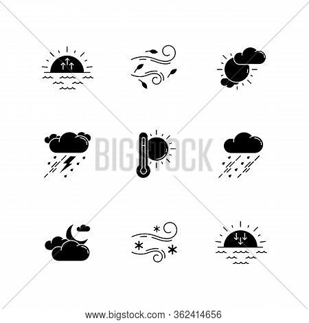 Weather Forecast Black Glyph Icons Set On White Space. Sky Condition And Temperature Prediction Silh