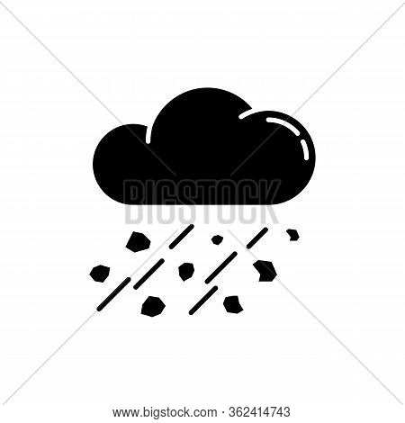 Mixed Rain Black Glyph Icon. Hailstorm, Meteorology Silhouette Symbol On White Space. Bad Weather Fo