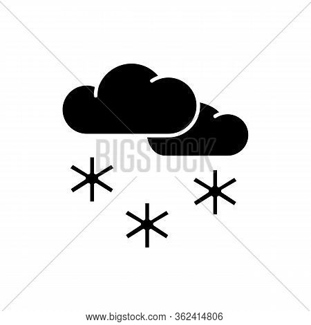 Scattered Snow Black Glyph Icon. Winter Weather Forecast, Meteorology Silhouette Symbol On White Spa