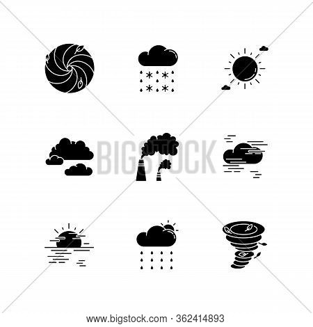 Meteorology Black Glyph Icons Set On White Space. Weather Forecasting Science, Environment Condition