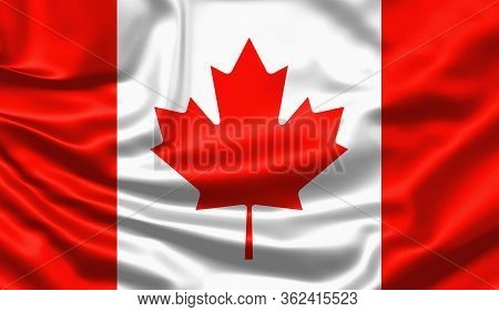Realistic Flag. Canada Flag Blowing In The Wind. Background Silk Texture. 3d Illustration.