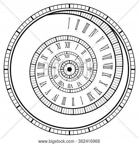 Vintage Spiral Watch. Roman Numerals Spiral Watch