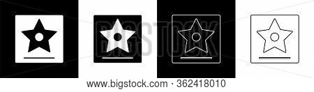 Set Hollywood Walk Of Fame Star On Celebrity Boulevard Icon Isolated On Black And White Background.