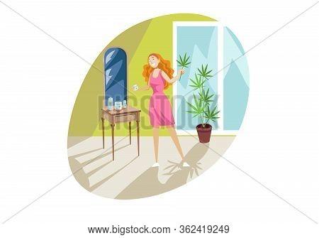 Healthcare, Beauty, Cbd Product, Cannabis, Marijuana Concept. Young Smiling Woman Girl Looking At Mi