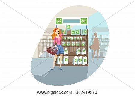 Buying, Cbd Product, Cannabis, Marijuana Shopping Concept. Young Happy Smiling Woman Or Girl Shoppin