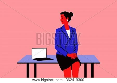Businesswoman In Office Concept. Young Business Woman, Secretary Company Chief Leader Boss Character
