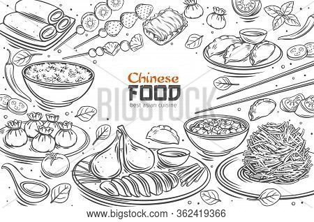 Chinese Cuisine Menu Layout. Asian Food Outline Vector Illustration. Peking Duck, Dumplings, Wonton,