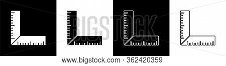 Set Corner Ruler Icon Isolated On Black And White Background. Setsquare, Angle Ruler, Carpentry, Mea
