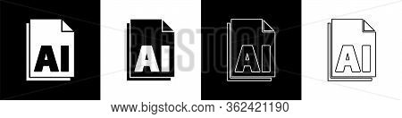 Set Ai File Document. Download Ai Button Icon Isolated On Black And White Background. Ai File Symbol