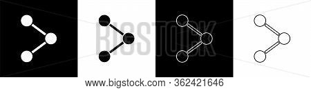 Set Share Icon Isolated On Black And White Background. Share, Sharing, Communication Pictogram, Soci