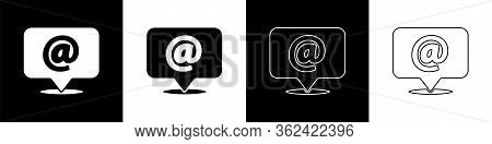 Set Mail And E-mail Icon Isolated On Black And White Background. Envelope Symbol E-mail. Email Messa