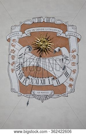 Vilnius, Lithuania - June 25, 2017: Sundial On South Wall Of The Palace Of The Grand Dukes Of Lithua