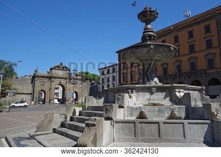 Ancient Fountain In Rocca Square, Viterbo , Italy