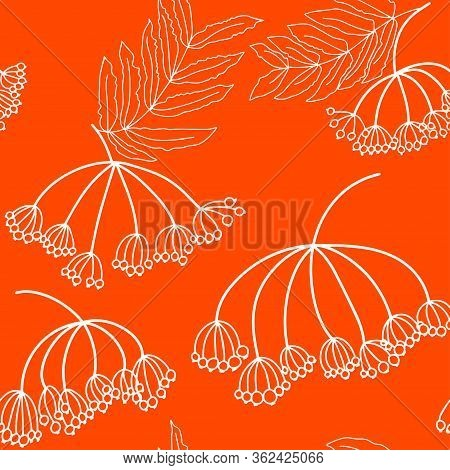 Floral Seamless Pattern With Ashberry. Rowan With Leaves.