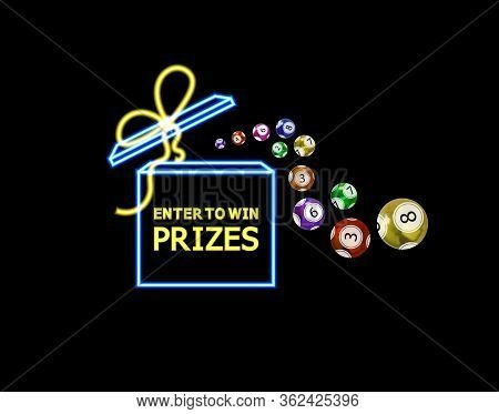 Vector Neon Open Box And Lottery Balls, Glowing Illustration Isolated On Black Background, Winner Co