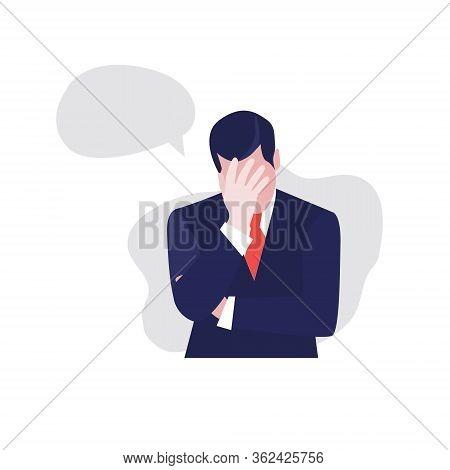 Vector Illustration Of Despair Businessman With Sheesh Bubble Or Cloud. Jobless Problem, Lose Job. U