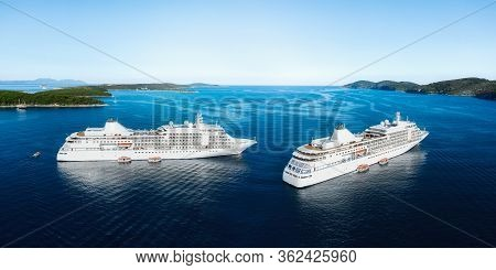 Panoramic Landscape With Cruise Liner On Adriatic Sea. Luxury Cruise. Croatia. Aerial View At The Cr