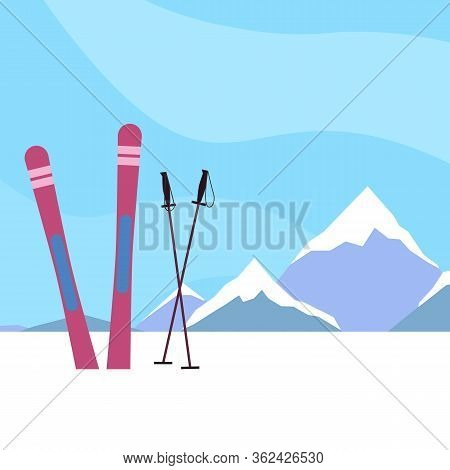 Ski Resort. Flat Ski Illustration On A Background Of Snowy Mountains. Active Healthy Rest. Sporting