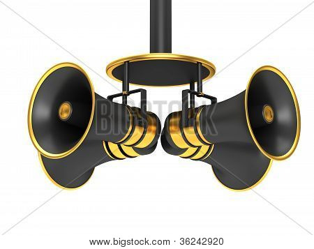 Four black megaphone