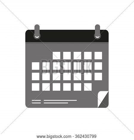 Calendar Icon Vector With Date, Black Almanac Image