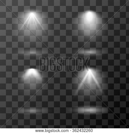 Vector Set Of Light Sources Isolated On Transparent Background. Scene Spotlight Collection. Design O
