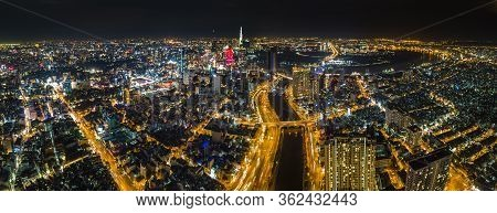 Ho Chi Minh City, Saigon Aerial Panorama At Night