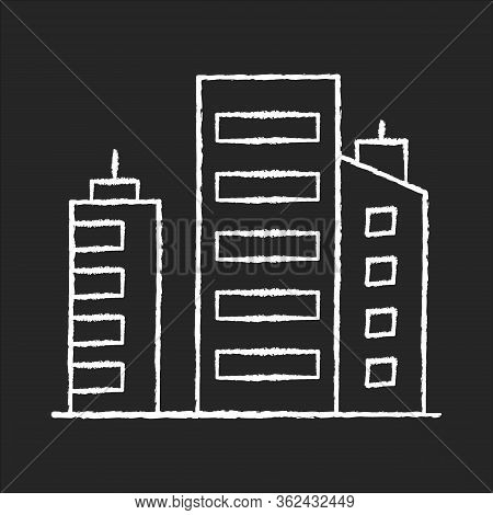 Business Building Chalk White Icon On Black Background. Multistorey Apartment Houses. Downtown Distr