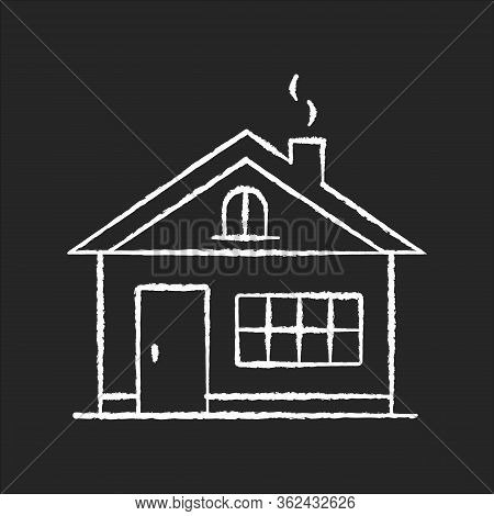 House Chalk White Icon On Black Background. Residential Home Exterior. Real Estate For Renting. Dwel