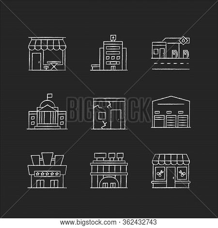 Urban Building Exteriors Chalk White Icons Set On Black Background. Cafe Exterior. Hospital Entrance