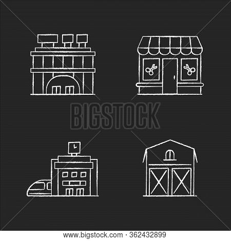 Buildings Chalk White Icons Set On Black Background. Shopping Center With Signboards On Roof. Beauty