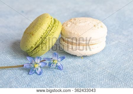 White And Pistachio Macaroons And Spring Flower On A Linen Napkin. Macarons Or Macaroons Is French O