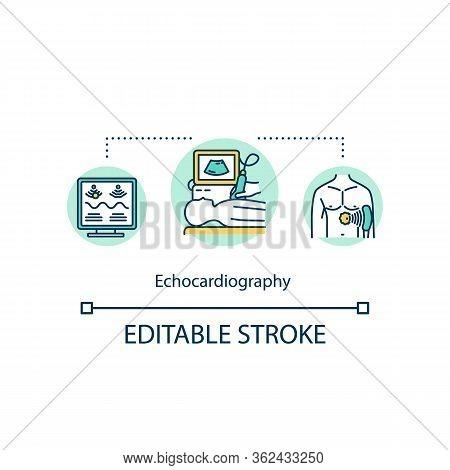 Echocardiography Concept Icon. Cardiac Screening Idea Thin Line Illustration. Heart Ultrasound Exami