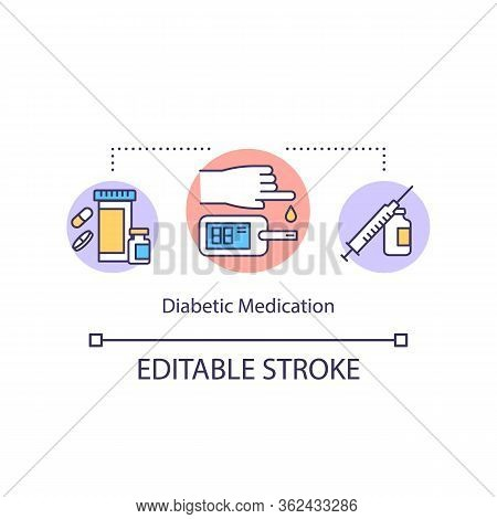 Diabetic Medication Concept Icon. Glucose Level Blood Test Idea Thin Line Illustration. Health Exami