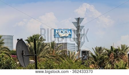 Barcelona, Spain - June 21, 2017 : Architectural Detail Of The Moda Tower During The Summer, A Skysc