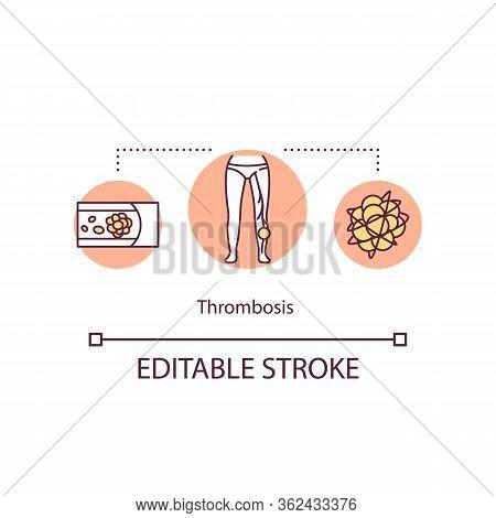 Thrombosis Concept Icon. Blood Clot In Vein Idea Thin Line Illustration. Vascular System Disease. Ar