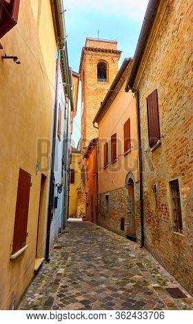 Perspective of old street in San Giovanni in Marignano, Italy - Italian cityscape, wide angle shot