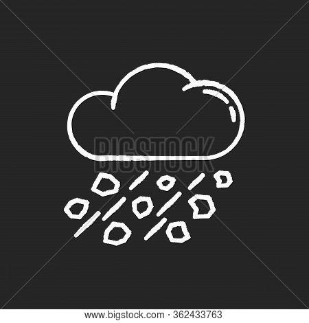 Mixed Rain Chalk White Icon On Black Background. Hailstorm, Meteorology. Bad Weather Forecast, Stron