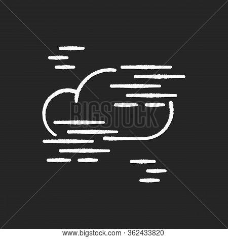 Fog Chalk White Icon On Black Background. Foggy Weather, Meteorological Forecast. Atmosphere Humidit