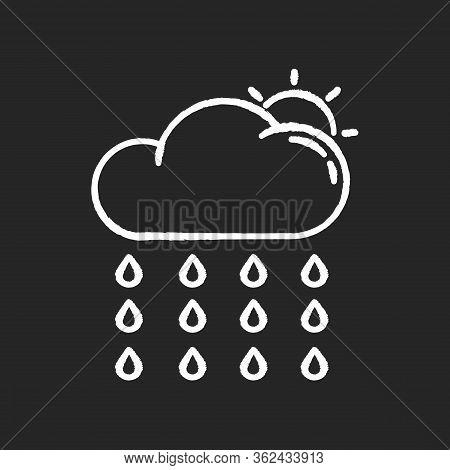 Drizzle Chalk White Icon On Black Background. Rainy Season, Summer Rain, Meteorology. Weather Foreca