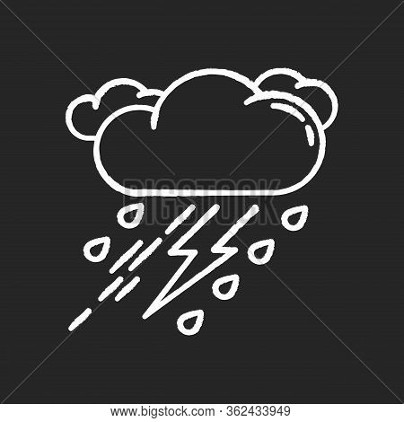 Thunderstorm Chalk White Icon On Black Background. Bad Weather, Meteo Forecast. Strong Atmospheric P