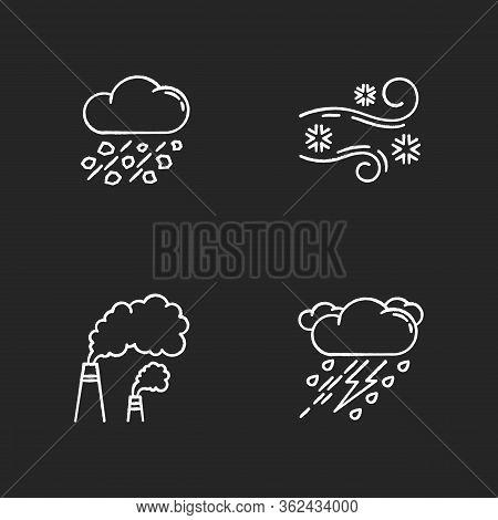 Bad Weather Forecast Chalk White Icons Set On Black Background. Meteorology, Atmosphere Condition Pr