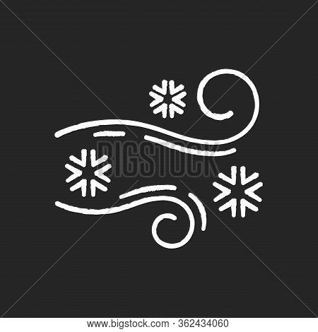 Blowing Snow Chalk White Icon On Black Background. Windy Weather, Meteorological Forecast. Strong Sn