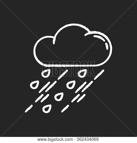 Showers Chalk White Icon On Black Background. Rainy Season, Weather Forecasting, Meteorology. Strong